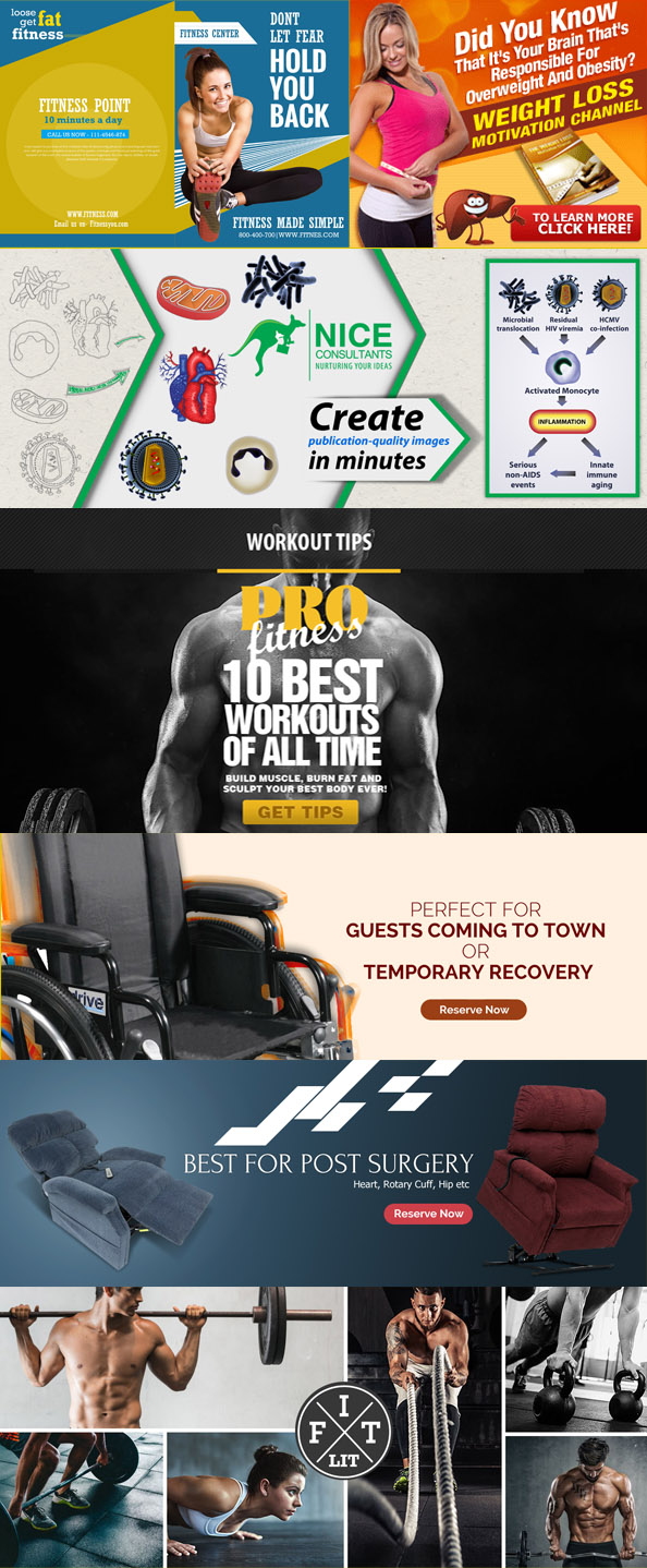 Health fitness medical banners