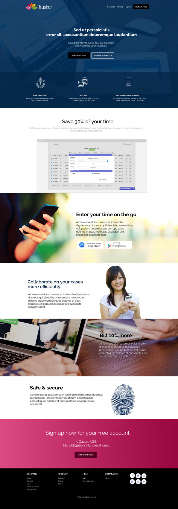 Landing page for product launch
